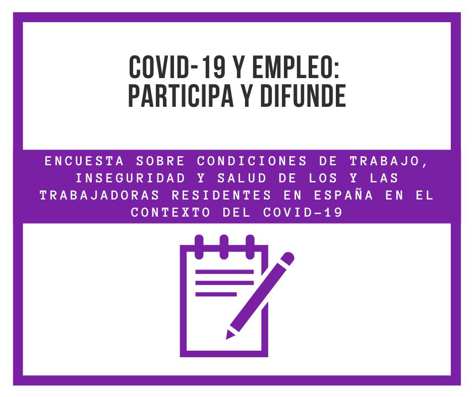 Participa en la encuesta epidemiológica sobre COVID-19 y empleo